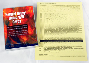 Natural Dying Living Will Cards front conver