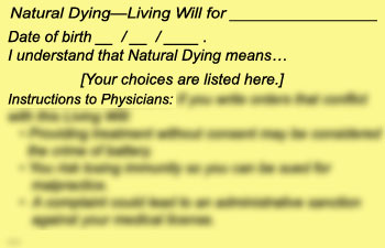 1b. Natural Dying—Living Will (included with My Way Cards or Natural Dying Living Will Cards)